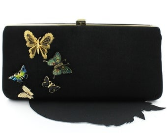 Vintage Black Crepe Purse with Cluster of Butterfly Brooches
