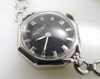 Antique Vintage Rare Jules Jurgensen Octagon Silver Black Womens Ladies Mechanical Windup Swiss Watch