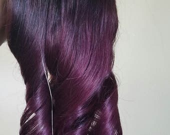 Remy Human Hair Extensions Halo Extensions Or Single Unit Extension  (Dark Brown # 2) with purple Ombre