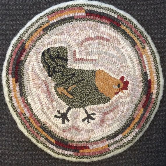"""Rug Hooking Pattern for """"Hazel"""" Chair Pad, on Monks Cloth or Primitive Linen, P144"""