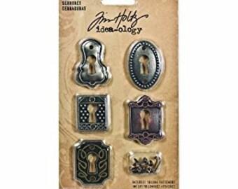 Tim Holtz Idea-ology KEYHOLES key holes metal embellishments 2.cc1x