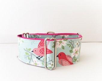 Nightingale  martingale collar (dog collar, greyhound martingale bird pink, elegant cotton satin cute)