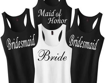 Wedding Shirts, Bachelorette Party, Bridesmaid Tanks, Bridesmaid Shirts, Wedding Gift, Bride Tank Top, Wedding Tanks, Wedding Set Of 5 6 7 8