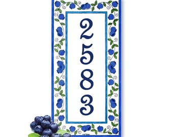 Wall hanging sign, Vertical number sign, House number sign, Wall hanging vertical sign, Address plaque
