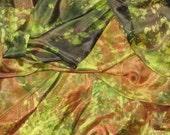 "Silk stole ""Forest Fairy"" ,  Hand painted silk scarf, women scarf green, silk painting,  Tie-Die"