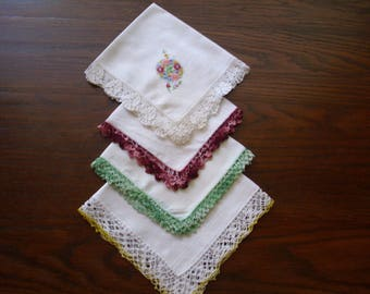 Four Vintage Linen Handkerchiefs, Handkerchief with Crochet, White Linen Hankie, Hankie Lot, Wedding Hankie, Yellow Hankie, Green Hankie