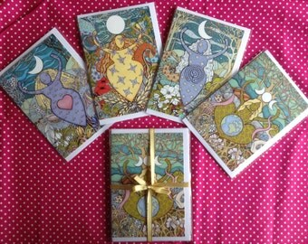 FREE POSTAGE. Pack of four Goddess greeting cards. Maiden, Mother, Crone and Earth Mother. A6 size