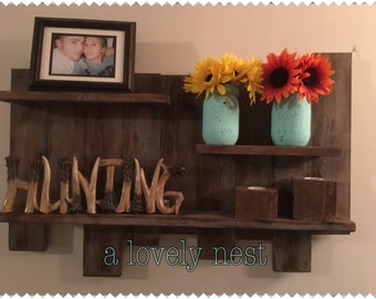 Rustic wall shelf reclaimed wood multiple shelf