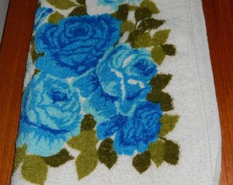 Vintage Floral Hand Towel in Shades of Bright Blue - Made by Camtex