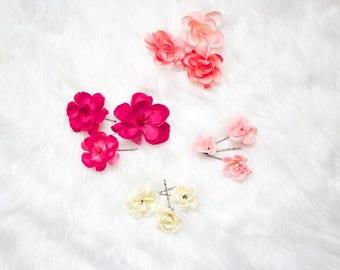 Set of Three Floral Bobby Pins