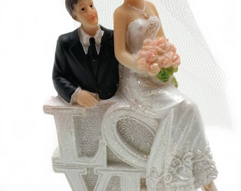 Bride and Groom with Love Sign cake topper