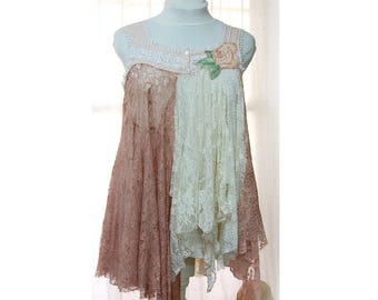 Gypsy Blouse Tunic, Shabby Boho Chic Lace Top, Magnolia Ivory Pearl White, Fairy Woodland, Tattered, Hippie, Eco Upcycled Festival Clothing