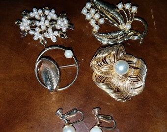 Faux Pearl Brooches and Marvella Faux Pearl Earrings