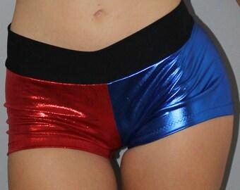Harley Quinn inspired spandex shorts