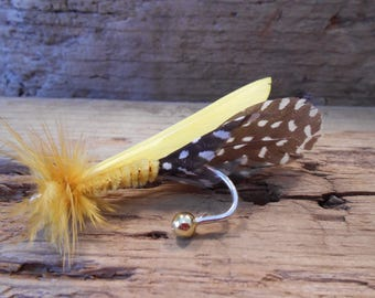 The GOLD RUSH Collection.Boutonniere Tie Fly History Fish Claim Miner Pheasant Yellow Explore Groom Mine Wedding Feather North PolkaDot Men
