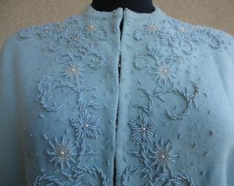 Blue Beaded Sweater