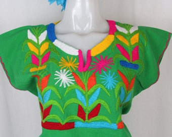 Maize- Embroidered Multicolor Mexican Huipil on 100% Cotton- Green- BOHO-Hippie- Corn- Elote- Frida Kahlo