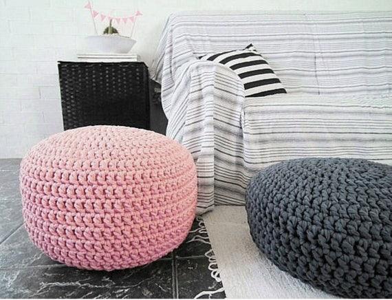 Light Pink Pouf Footstool Blush Nursery Decor Floor