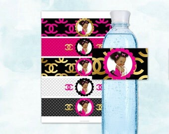 Water Bottle Labels | Hot Pink Black Gold Bows | Princess Ruffle Pants African American Afro Puffs | Digital Instant Download
