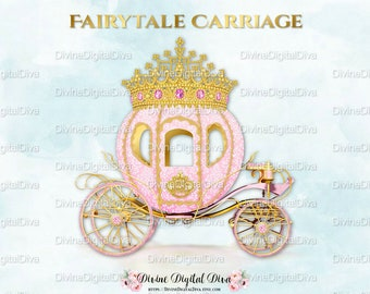 Pink Princess Cinderella Carriage Coach | Pink Gold Diamond Crown Tiara | Clipart Instant Download