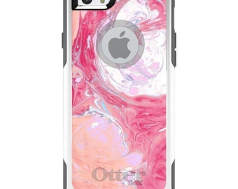 OtterBox Commuter for Apple iPhone 5S SE 5C 6 6S 7 8 PLUS X 10 - Custom Monogram - Any Colors - Hot Pink Blush Marble Print
