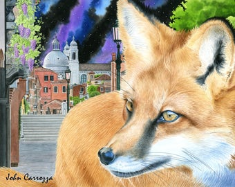 The Fox and the Grapes 8 x 10 Watercolor Print - The Fables of Aesop Series