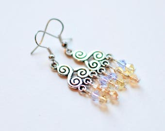 Tibetan Silver Chandelier Earrings with Swarovski Crystals