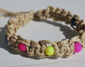 Super Thick Hemp Anklet with Brightly Colored Beads