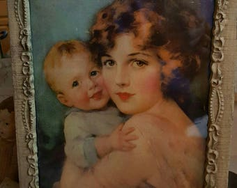 Antique Frame with Print Baby Mine
