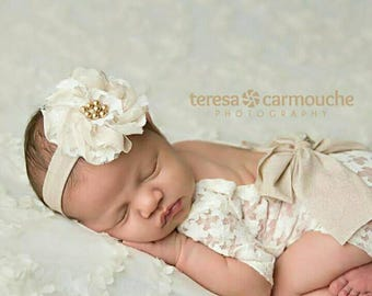 Baby girl headband infant toddler outfit Elastic headband with a flower stretchy headband cream beige hair band chiffon flower and beads