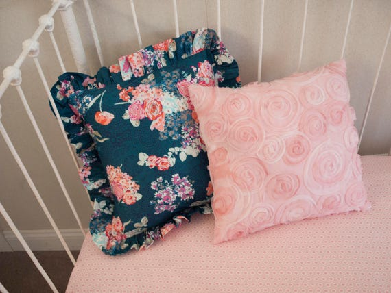 Navy And Pink Decorative Pillows: Navy Floral And Pink Rose Decorative Pillows Choose From