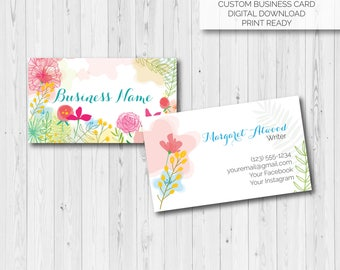 Watercolor, Floral, Printable Business Cards, Name Cards, Calling Cards