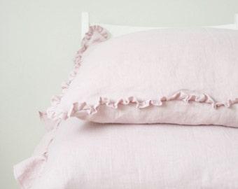 Pastel Pink Linen Pillow Cover with Small Ruffles/ Natural Linen/ Softened Linen/ Linen Sham