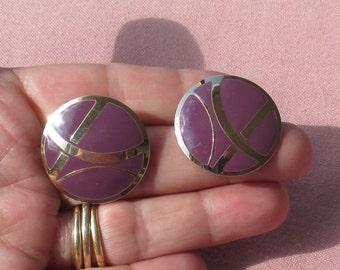 Retro L Bott Purple Enameled Round Metal Pierced Earrings