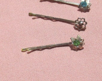 Lot Of Retro Butterfly Flower Hair Pins Blue Green Rhinestones