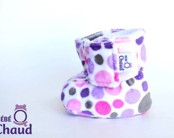 Slippers, boots, soft slippers for baby, toddler, mauve and pink pea, gift, shower, gift birth, baby accessory