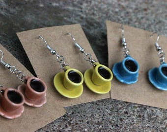 Filled tea / coffee cup earrings-- choice of orange, yellow, or blue with dark-colored liquid
