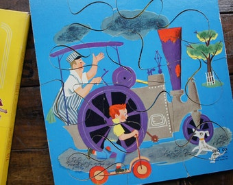 Sifo Toys Set of 2 Six Piece Wood Puzzles ~ 1951 ~ Big Shovel & Steam Roller #715