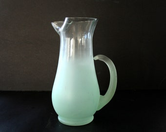 Blendo Mint Green Pitcher, Blendo Glass Pitcher, Frosted Glass Pitcher, Ombre Glass Pitcher, Sea Foam Green Glass Pitcher, Mid Century Glass