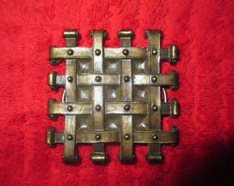 Medieval design grid  belt buckle