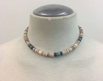 Vintage old pawn Navajo Choker / Native American Turquoise Necklace / Heishi shell Mens Hippie Choker
