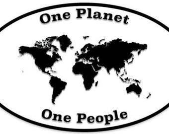 One Planet One People Oval Vinyl Sticker
