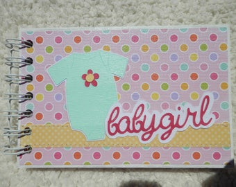 4x6  Baby Girl Polka Dot Chipboard Mini Scrapbook