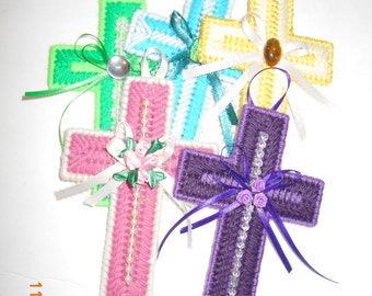 Cross Wallhanging- plastic canvas, religious (pick one)