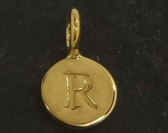 Gold on sterling silver round letter charm R, gold initial R charm,  stamped gold letter charm  , R gold vermeil initial charm