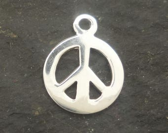 SOLID sterling silver PEACE charm 10mm , sterling peace symbol , solid silver peace symbol pendant  , 925 peace pendant silver peace sign