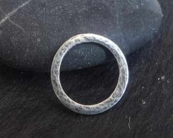 sterling silver oxidised 13mm ring, sterling flat hammered ring , solid silver 925  flat ring connector  , 13mm solid silver circle.