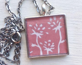 "Pink Floral Necklace- Original Cut Paper Art With 24"" Chain"