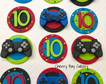 Fondant video game cupcake toppers, Video game birthday, Gamer birthday party, Video game cupcake decorations, Gaming cupcake toppers