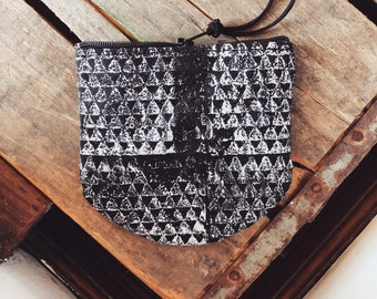 Coin purse with white block print on black canvas - Volcano Goods